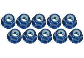 3mm Aluminum Flanged Lock Nuts (10 Pcs) - Blue